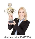 Businesswoman winning a trophy. Isolated on white - stock photo