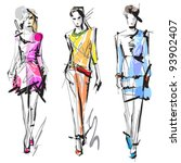 fashion models. sketch. | Shutterstock .eps vector #93902407