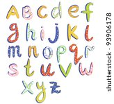 childish alphabet with funny... | Shutterstock .eps vector #93906178