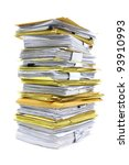 stack of papers isolated on... | Shutterstock . vector #93910993