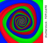 Triangular vortex of red, blue, green colors - stock photo