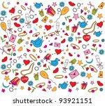 valentine doodles set | Shutterstock .eps vector #93921151