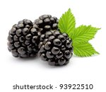 Blackberry with leaves - stock photo