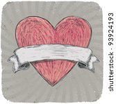 retro styled tattoo heart with...   Shutterstock .eps vector #93924193