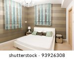 Bedroom with furnishings in a new house - stock photo