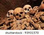 BRNO,CZECH REP,JAN 30:Charnel-house under the st. Jacob church where are skulls and bones of more than 50.000 people was open for first time for journalist on 30 january 2012 in Brno,Czech republic. - stock photo