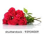 Stock photo beautiful bouquet of red roses isolated on white 93934009