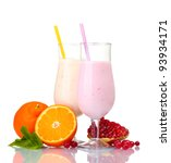milk shakes with fruits... | Shutterstock . vector #93934171