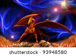 Fantasy Red Gold Dragon Agains...