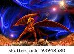 fantasy red gold dragon against ...   Shutterstock . vector #93948580