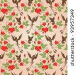 shrub roses and birds. stylized ...   Shutterstock .eps vector #93957349