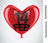 14 february vector glossy heart ... | Shutterstock .eps vector #93959983