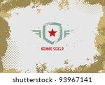 grunge shield design element on ...