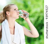 young woman drinking water... | Shutterstock . vector #93974527