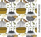 Bird And Cage Seamless Pattern