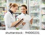 two pharmacist chemist women... | Shutterstock . vector #94000231