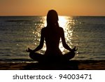 Silhouette Of Woman In Yoga...
