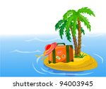 travel background  palm and... | Shutterstock .eps vector #94003945