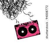 audiocassette tape with tangled....   Shutterstock .eps vector #94008772