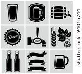 vector black beer icons set. | Shutterstock .eps vector #94015744
