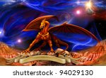 fantasy red gold dragon against ... | Shutterstock . vector #94029130