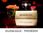 reserved sign in restaurant | Shutterstock . vector #94038304
