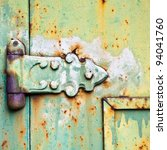 An Old Patterned Hinge With...