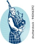 bagpipe,bagpiper,illustration,male,piping,player,playing,retro,scotland,scottish,scottish highland bagpipe,vector,woodcut
