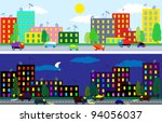 cartoon city of night and day... | Shutterstock .eps vector #94056037
