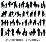 silhouettes of families walking ... | Shutterstock .eps vector #94058527