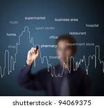 business man drawing urban city ... | Shutterstock . vector #94069375