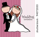 wedding couple dress and card. | Shutterstock .eps vector #94072033