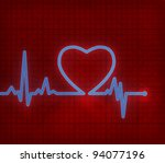 heart cardiogram on paper  with ... | Shutterstock . vector #94077196