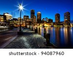 Stock photo boston harbor and financial district in boston massachusetts at sunset 94087960