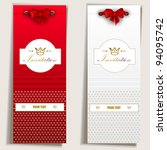 card notes with ribbons. red... | Shutterstock .eps vector #94095742