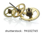 Gears From Old Clock Isolated...