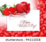 two velvet hearts with a red... | Shutterstock . vector #94111018