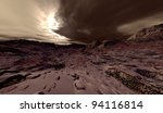 Large-scale planetary dust-storm on Mars - stock photo