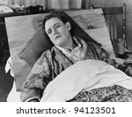 SICK IN BED - stock photo