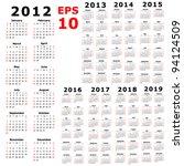calendar for 2012  2013  2014 ... | Shutterstock .eps vector #94124509