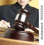 Gavel & female judge - stock photo