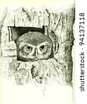 illustration of an owl painted...   Shutterstock . vector #94137118