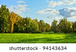 park with green meadow at early ... | Shutterstock . vector #94143634