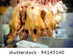Fresh roasted chicken in Bangkok's Chinatown, Thailand. - stock photo