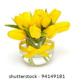Yellow Tulips In A Vase Tied...