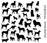 set of dogs silhouette. vector. | Shutterstock .eps vector #94162813