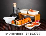 delicious sushi on plate ... | Shutterstock . vector #94163737