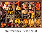 different color of pasta in an... | Shutterstock . vector #94167988