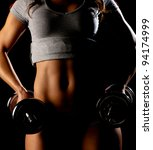 young fit girl working out with ... | Shutterstock . vector #94174999