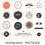 Stock vector set of premium quality and guarantee labels with retro vintage styled design vector 94176103